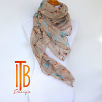 Beige Spring Scarf, Womens scarves, Dragonfly Scarf, Fashion Accessories, Spring Fashion Scarf, Boho Scarf, Romantic Gifts For Her