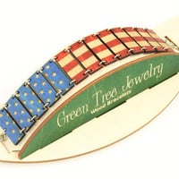 United States Of America Flag Bracelet - Laser Cut Wood - Made in USA