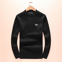 Armani cashmere tide fashion men and women casual cashmere sweater F-A00FS-GJ Black