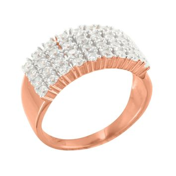 Sterling Silver 4 Row Mens Wedding Band Simulated Diamond 14K Rose Gold Finish