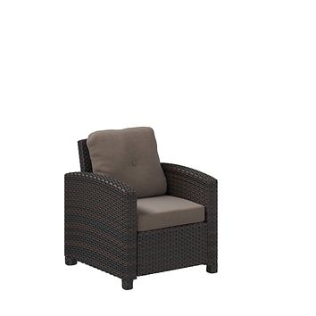 Patio Sense Miles Mocha Outdoor Wicker Club Chair - Patio Armchair with Cushions, All-Weather Wicker, Durable and Fade Resistant Outdoor Furniture