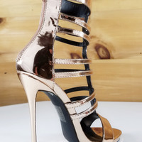 "Beyaz Rose Gold Multi T-Strap Single Sole Shoes Booties - 5"" High Heels"