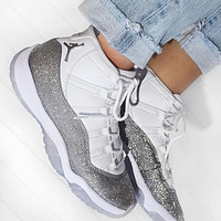 Nike Air Jordan 11 Retro White Metallic Silver Sneakers Shoes