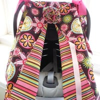 JULY SALE Infant Car Seat canopy cover Cuddler -- -MM Carnival Bloom Brown -- Cha Cha Watermelon strip
