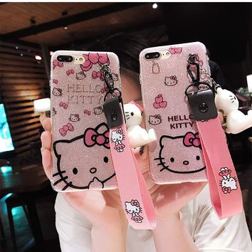 For huawei P20 Kitty Case, bling Hello Kitty Cover for Huawei P20 pro / p20 lite ( nova 3E )phone cover + toy stander +Strap