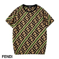 FENDI 2019 new men and women with round neck short sleeve LOGO printing trend T-shirt Green