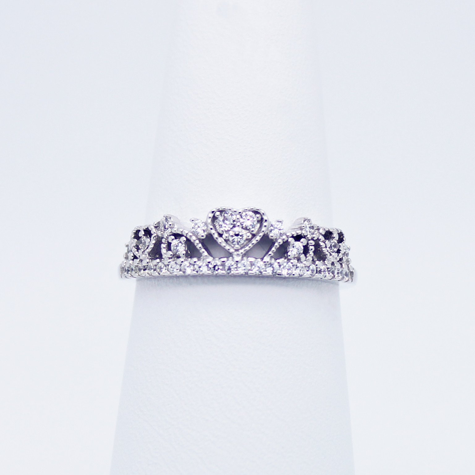 Image of Heart crown sterling silver ring