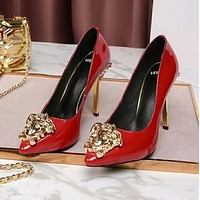"Hot Sale ""Versace"" Summer New Popular Women Pure Color Smooth Leather Stiletto Heel Pointed High Heels Red I13174-41"