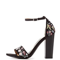 Floral Embroidered Two-Piece Sandals