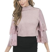 Suede Crop Top W/ Tiered Sleeves