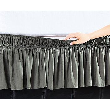 Waterfall Ruffle Bed Skirt 14 Drop 100/% Cotton 800 TC Luxurious Ultra Soft Fabric Multi Ruffled Bed Skirt Unique Dust Ruffled Premium Quality Bed Skirts Twin XL Size//Black