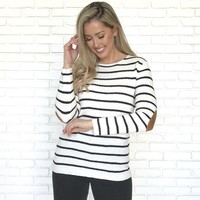 Striped Elbow Pad Knit Top