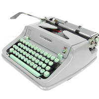 Hermes typewriter vintage mint green great working condition serviced old typewriters office decor romantic writer old fashioned