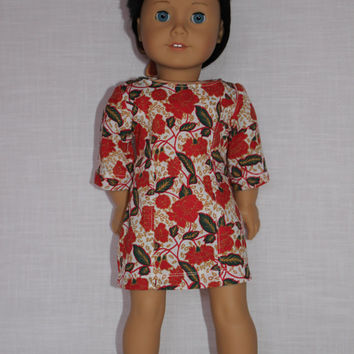 18 inch doll clothes, Ascot dress ,floral dress, fitted dress,  american girl, Maplelea