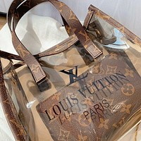 LV Louis Vuitton Fashion Women Shopping Bag Beach Jelly Bag Shoulder Bag Transparent Handbag Wallet Two Piece Set