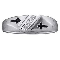 Round Diamond Men's Metal Mold Ring in 10k White Gold 0.05 ctw