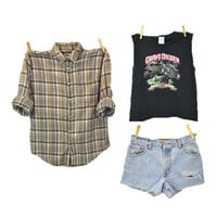 GRUNGE MYSTERY outfit  90s flannel shirt shorts Tshirt / hipster indie 1990s / band T / mystery distressed cutoffs / Small Medium Large