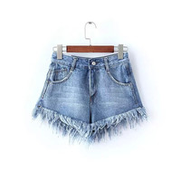 Blue Denim Tassel Pocket Zipper High Waist Jeans Shorts