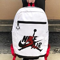 NIKE Jordan New fashion letter people print couple book bag backpack bag White