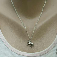 Galloping Horses Jewelry Set Stallions Pewter Necklace Earrings Equestrian Jewelry