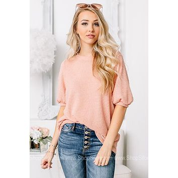 Just Peachy Sheer Waffle Top | Peach