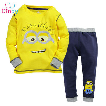 Baby boy clothes 2016 New despicable me 2 minion boys girls clothes hoodies + casual long pants 2pc clothing sets