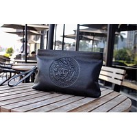 VERSACE MEN'S NEW STYLE LEATHER ZIPPER HAND BAG