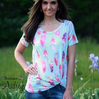 Mint Feather Print Top with Twist Front Detail