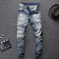 Classical Fashion Streetwear Men Jeans Light Blue Color Embroidery Patchwork Ripped Jeans For Men Slim Fit
