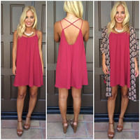 Sweet Perfection Cross Back Dress - BURGUNDY