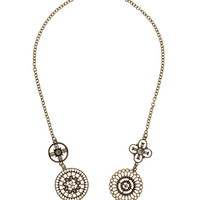 Gold-Colored Medallion Necklace - Gold/Black