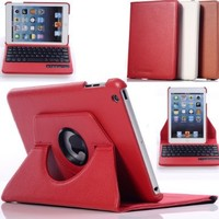 Case Mama 360 Rotating Leather Detachable Bluetooth Keyboard Case with Auto Wake Up and Sleep Function (Red)