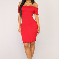 Terry Smocked Dress - Red
