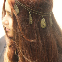 Chain Headpiece Headband  20% LABOR DAY SALE Bohemian Hipster Boho Hippie Bronze Feather Pendant Bridal Statement Jewelry