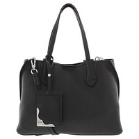 Calvin Klein Jacky Micro Pebble Leather Slouchy East/West Tote, Black/Silver