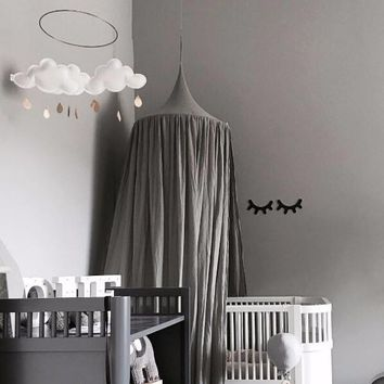 Beige White Grey Pink Kids Boys Girls Princess Canopy Bed Valance Kids Room Decoration Baby Bed Round Mosquito Net Tent Curtains