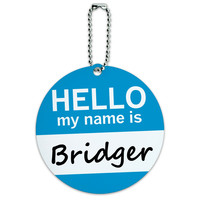 Bridger Hello My Name Is Round ID Card Luggage Tag