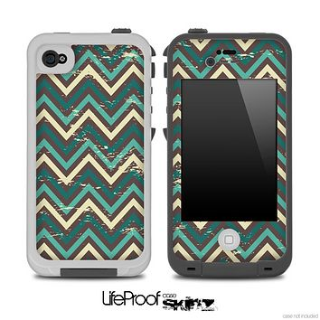 Vintage Green V5 Chevron Pattern Skin for the iPhone 5 or 4/4s LifeProof Case