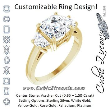 Cubic Zirconia Engagement Ring- The Bree (Customizable 3-stone Design with Asscher Cut Center and Half-moon Side Stones)