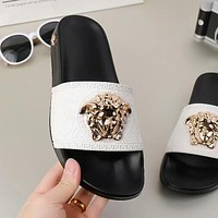 Versace Summer Women Men Leisure Sandals Slipper Shoes(8-Color) White/Black I-ALS-XZ