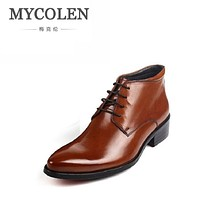 MYCOLEN High Top Pointed Toe Oxford Business Dress Patent Leather Wedding Shoes Men Boots Autumn And Winter Rubber Bottom Derby