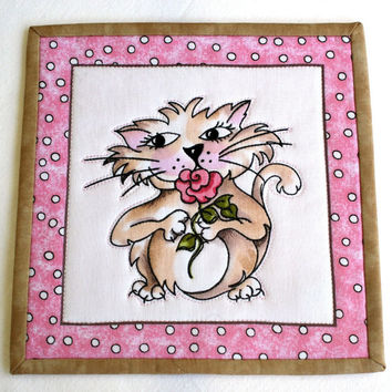 Cat Mug Rug, Quilted Snack Mat, Pink Black Mug Rug, Cat Candle Mat, Fancy Cats, Oversized Coaster, Quiltsy Handmade