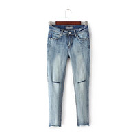 Summer Women's Fashion Ripped Holes Stretch Weathered Denim Skinny Pants [4920275844]