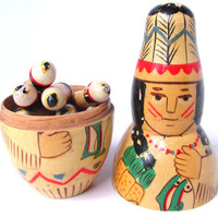 Vintage Folk Art Nesting Russian Doll Indian 10 Little Indians