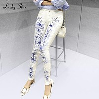 LUCKY STAR White Female Elastic Jeans Europe Printing Slim Denim Trousers Elastic Long Stylish Printed Jeans Plus Size A208