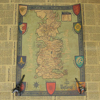 Game of Thrones retro world map