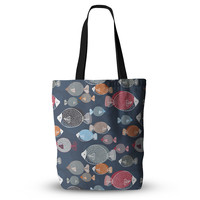 "Melissa Armstrong ""Swim School"" Blue Red Everything Tote Bag"