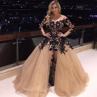 Sexy Evening Dresses Applique Tulle Evening Gowns Formal Dress Long Prom Dresses Robe De Soiree QM257
