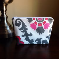 Makeup bag, cosmetic case, zipper pouch, bridesmaid clutch - pink and grey suzani