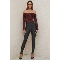 fhotwinter19 new women's sexy nightclub high-waist tight-fitting hip leather pants bottoming trousers